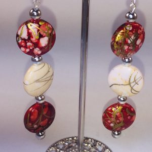Light wear Long Red and White Beads earrings