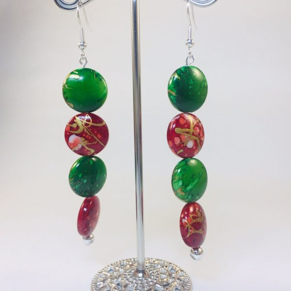Costume Jewellery - Long Red and Green Beads earrings