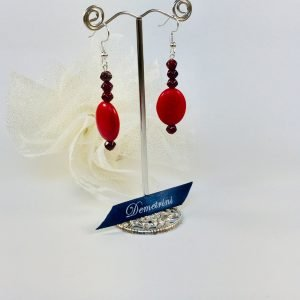 Costume Jewellery - Red Czech glass and Stone beads earrings