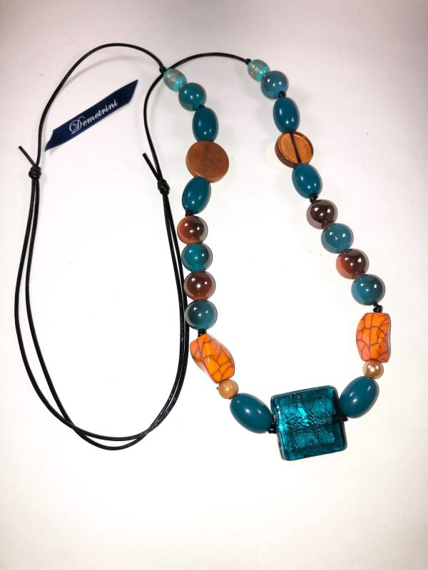 Costume Jewellery Turquoise Brown Beads selection Necklace on faux cord leather