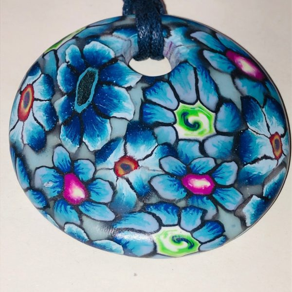 Costume Jewellery Azure Polymer clay pendant necklace
