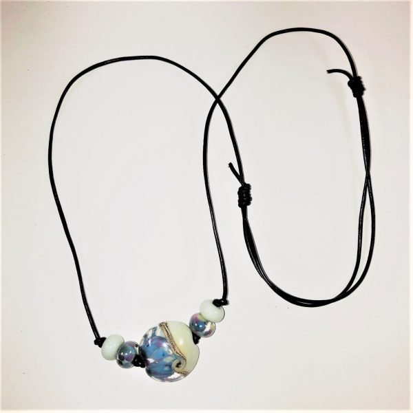 Costume Jewellery Mint Lampwork beads leather cord necklace