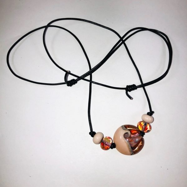 Costume Jewellery Peach Lampwork beads leather cord necklace