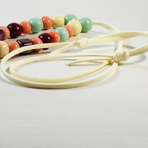 Costume Jewellery - Wooden and Ceramic Beads and Tassle Necklace