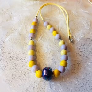 Costume Jewellery - Yellowlill wooden beads necklace with Focal ceramic bead