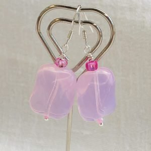Costume Jewellery - Pink glass sterling silver