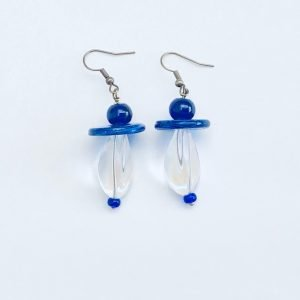Glass earrings - Blue and Clear glass