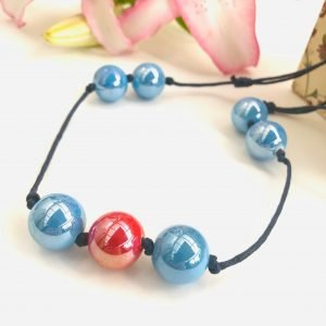 Costume Jewellery ceramic beads Necklace Red Blue