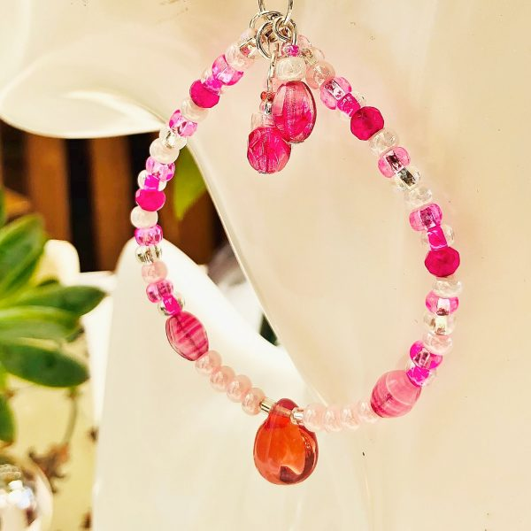 Costume jewellery - Round Pink Glass earrings