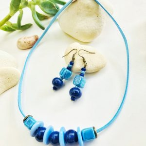 Ceramic and glass beads necklace and earrings set