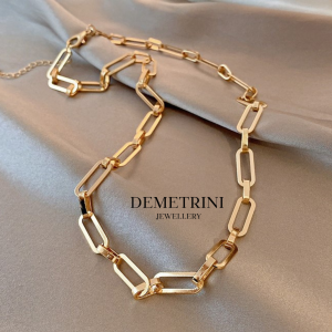 Wide Chain necklace in Gold Tone